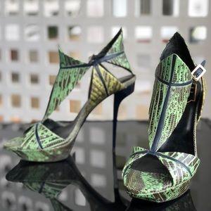 Roger Vivier Green & Navy Reptile Print Heels